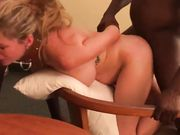 Submissive slut blonde shared between three black men